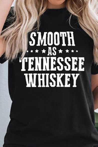 Leisure Womens Short Sleeve Round Neck Letter SMOOTH AS TENNESSEE WHISKEY Print Relaxed T-Shirt