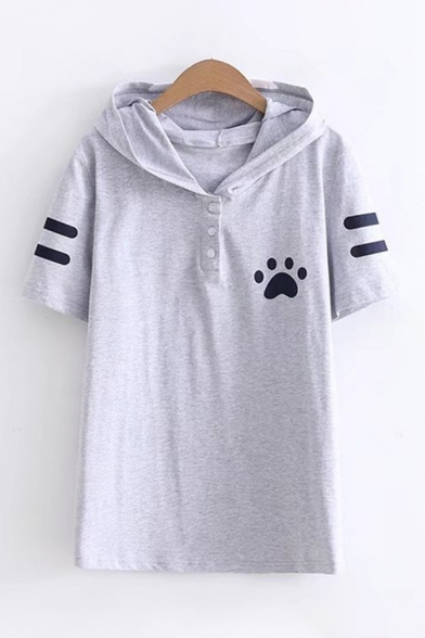 Lovely Girls Short Sleeve Paw Stripe Printed Button Up Regular Fit Cat Ears Hoodie