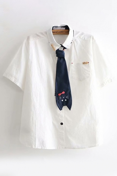Preppy Girls Short Sleeve Lapel Collar Button Details Pocket Panel Cat Print Tie Relaxed Shirt in White