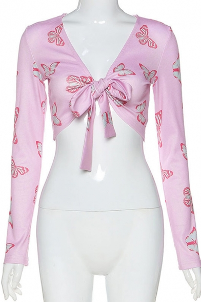 Sexy Cute Womens Long Sleeve Deep V-Neck All Over Butterfly Print Tied Front Knitted Fitted Crop T-Shirt in Pink