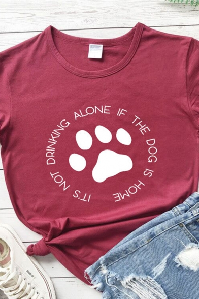 Casual Girls Rolled Up Sleeve Crew Neck Letter IT'S NOT DRINKING ALONE Footprint Graphic Regular Fit T Shirt