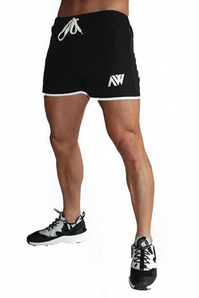 Chic Trendy Drawstring Waist Letter Print Contrast Piped Relaxed Shorts for Muscle Men