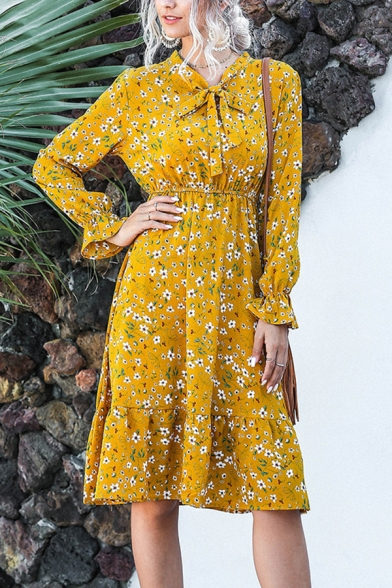 Elegant Chic Ladies Long Sleeve Bow Tie Neck All Over Floral Print Ruffled Midi Pleated A-Line Dress