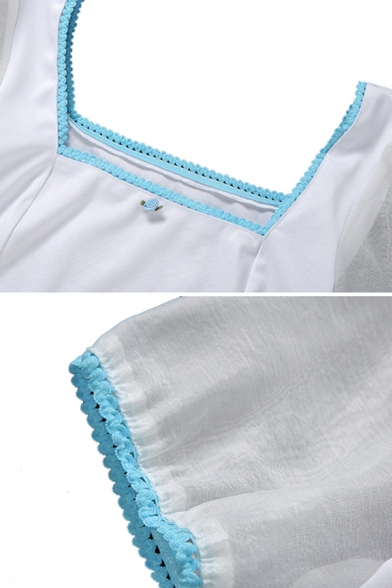 Fancy Girls White Puff Sleeve Square Neck Floral Patched See-Through Mesh Lace Trim Contrasted Fit Crop T Shirt
