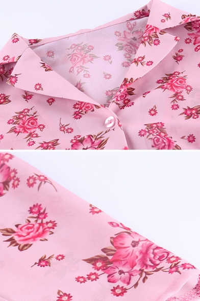 Fancy Ladies Pink Long Sleeve Lapel Neck Button Down All Over Floral Printed Slim Fit Shirt
