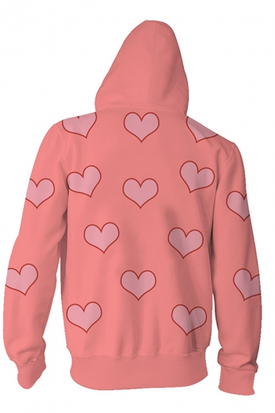 Fancy Pink Long Sleeve Zipper Front Allover Heart Pattern Drawstring Relaxed Fit Hoodie for Boys
