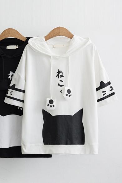 Harajuku Girls Bell Sleeves Drawstring Cat Paw Varsity Stripe Print Japanese Letter Relaxed Hoodie
