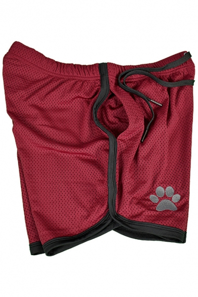 Leisure Mens Drawstring Waist Paw Patterned Contrasted Piped Breathable Fitted Shorts