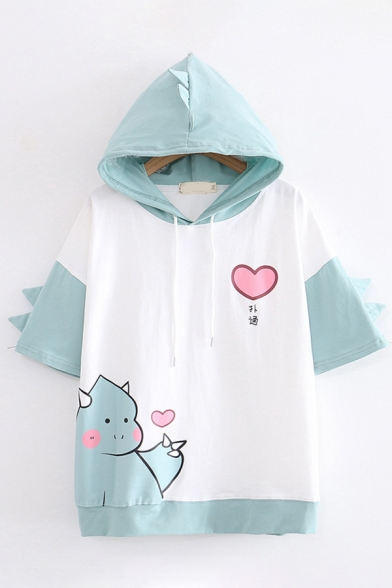 Lovely Girls Short Sleeve Dinosaur Heart Print Chinese Letter Color Block Drawstring Relaxed Fit Hoodie