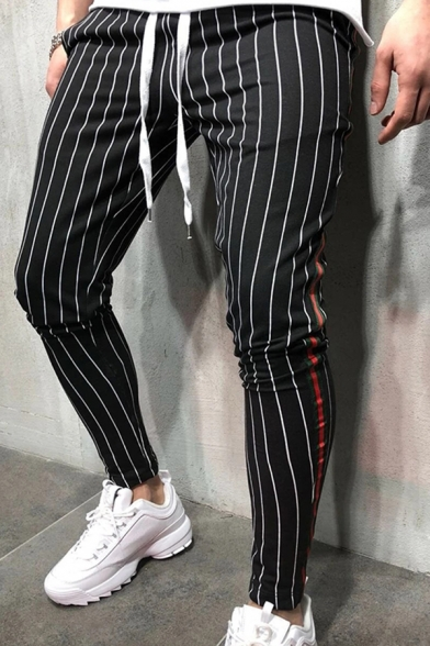 New Trendy Boys Drawstring Waist Stripe Printed Contrasted Ankle Length Slim Fit Trousers