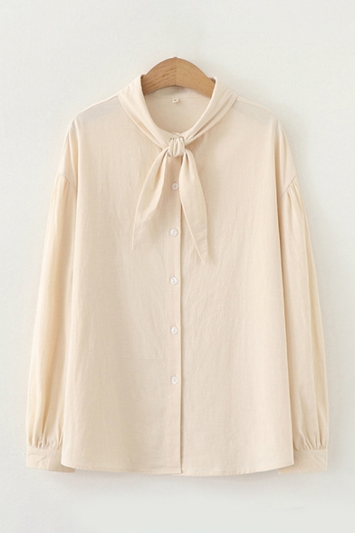 Popular Simple Womens Long Sleeve Bow Tied Neck Button Down Relaxed Shirt in Apricot
