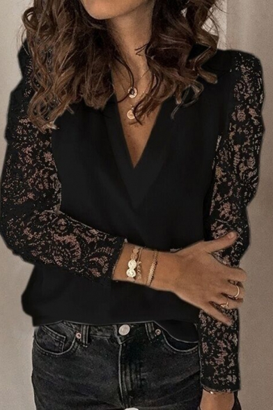 Sexy Chic Long Sleeve V-Neck Sheer Lace Patched Solid Color Relaxed Fit T Shirt for Women