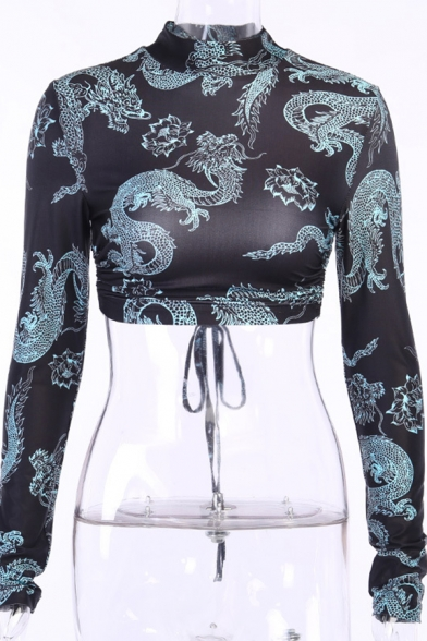 Sexy Woemns Long Sleeve Mock Neck All Over Dragon Print Bow Tie Open Back Slim Fit T-Shirt in Black