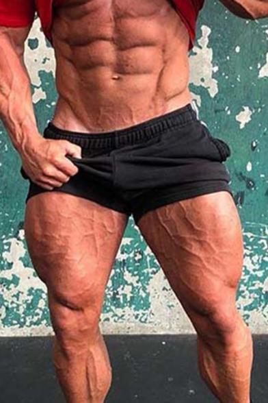 Simple Fitness Mens Drawstring Waist Letter Pattern Slim Fit Shorts