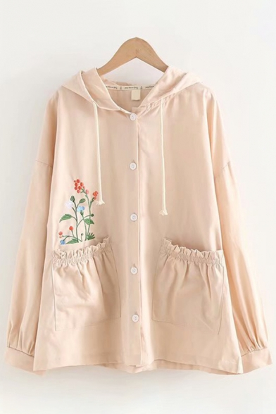 Casual Apricot Long Sleeve Drawstring Button Down Floral Embroidered Patched Pocket Loose Hooded Coat
