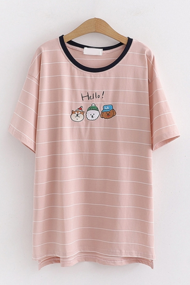 Casual Womens Short Sleeve Round Neck Letter HELLO Cartoon Graphic Striped Contrasted Slit Side Relaxed Fit Tee Top