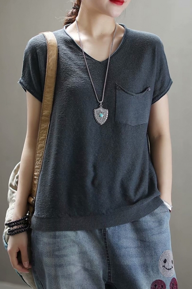 Casual Womens Short Sleeve V-Neck Pocket Panel Knitted Solid Color Relaxed T Shirt