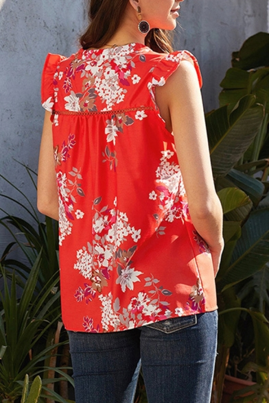 Casual Womens Sleeveless V-Neck All Over Floral Print Ruffled Trim Relaxed Blouse Top