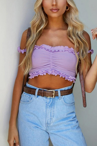 Chic Sexy Girls Off the Shoulder Stringy Selvedge Ruched Fit Cropped Purple Tee Top