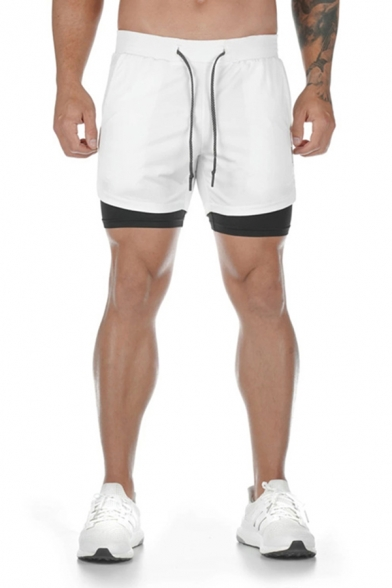 Classic Gym Guys Drawstring Waist Color Block False Two Piece Relaxed Shorts