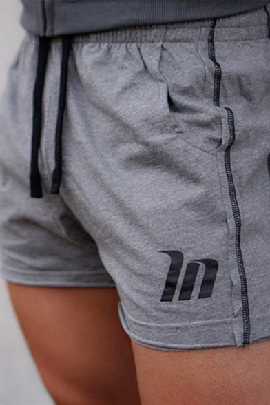 Cool Athletic Drawstring Waist Letter IN Printed Contrasted Stitch Slim Fit Shorts