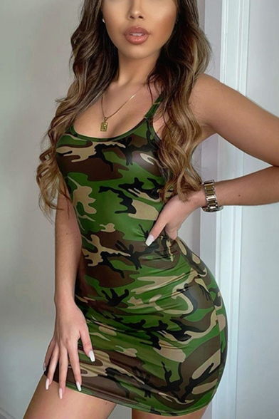 Cool Womens Sleeveless Camo Patterned Mini Bodycon Tank Dress in Green