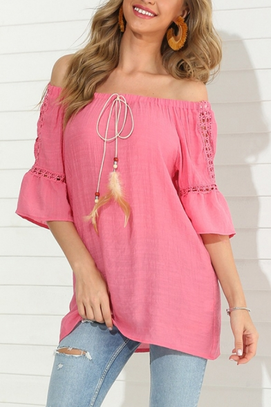 Ethnic Summer Three-Quarter Sleeve Off the Shoulder Bow Tie Front Tassel Hollow Out Loose Fit Long Blouse for Women