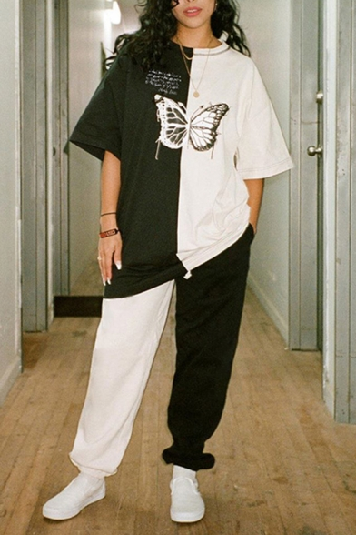 Hip Hop Girls White Short Sleeve Round Neck Butterfly Letter Graphic Color Block Long Oversize T-Shirt