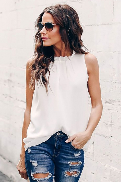 Casual Trendy Womens Sleeveless Crew Neck Solid Color Stringy Selvedge Relaxed Fit Blouse Top