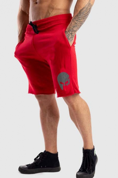 Chic Mens Drawstring Waist Patterned Rolled Edges Relaxed Shorts