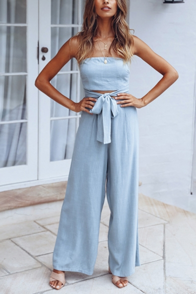 Classy Womens Sleeveless Strapless Bow Tie Waist Cut Out Long Wide Leg Tube Jumpsuit in Blue, LC609802