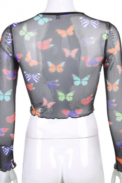 Cool Fashion Long Sleeve Crew Neck Stringy Selvedge All Over Butterfly Print Sheer Mesh Slim Fit T-Shirt in Black