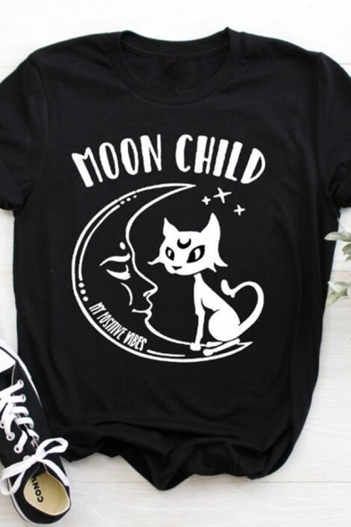 Cool Womens Rolled Short Sleeve Crew Neck Letter MOON CHILD Cat Graphic Slim Fit T-Shirt