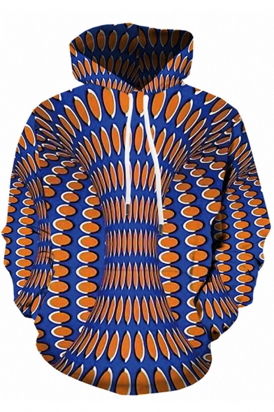 Creative Boys Long Sleeve Drawstring Dizzy Polka Dot 3D Printed Pouch Pocket Relaxed Hoodie in Blue