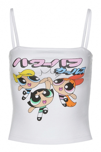 Fashionable Womens Sleeveless Japanese Letter Cartoon Graphic Slim Fit Crop Cami Top in White