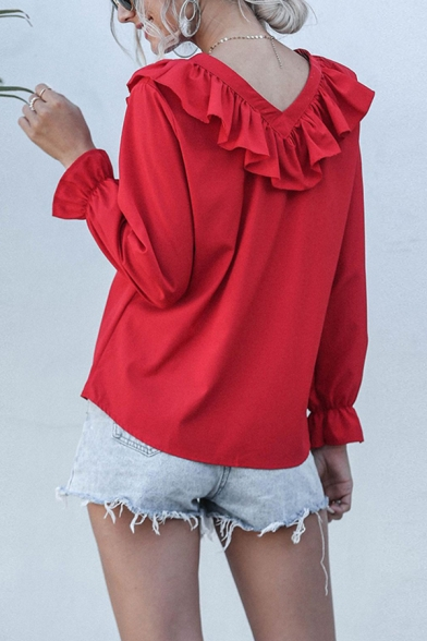 Formal Ladies Solid Color Long Sleeve V-Neck Ruffled Trim Loose Fit Blouse Top in Red