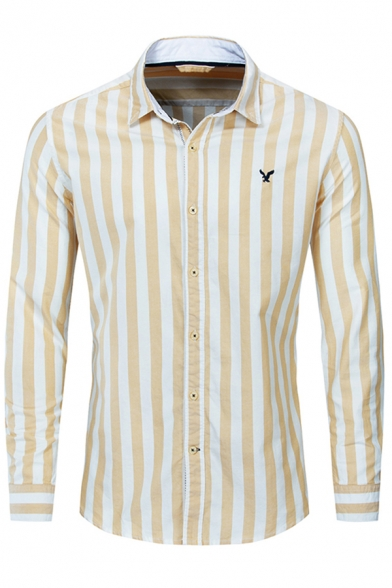 Leisure Fashion Boys Long Sleeve Lapel Neck Button Down Stripe Print Eagle Embroidery Regular Fit Shirt in Yellow