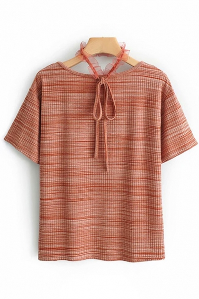 Leisure Womens Short Sleeve Halter Stripe Printed Lace Patched Relaxed Fit T-Shirt
