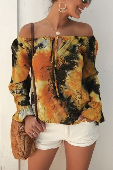 Popular Womens Ruffled Long Sleeve Off the Shoulder Bow Tie Front All Over Floral Tie Dye Relaxed Blouse Top, Blue;red;yellow, LM609709