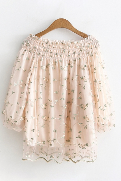 Pretty Girls Blouson Sleeve Off the Shoulder Ditsy Floral Print Mesh Scalloped Relaxed Fit Blouse Top