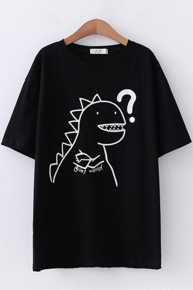 Simple Girls Short Sleeve Round Neck Dinosaur Printed Loose Fit T-Shirt