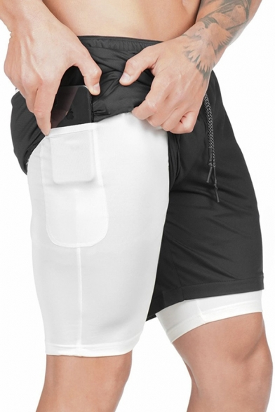Sports Mens Drawstring Waist Bi-Layered Colorblocked Relaxed Shorts