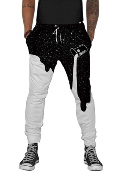 Stylish Pouring Paint Galaxy Print Color Block Leisure Casual Pants