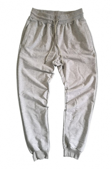 Basic Boys Drawstring Waist Solid Color Cuffed Ankle Length Tapered Fit Sweatpants