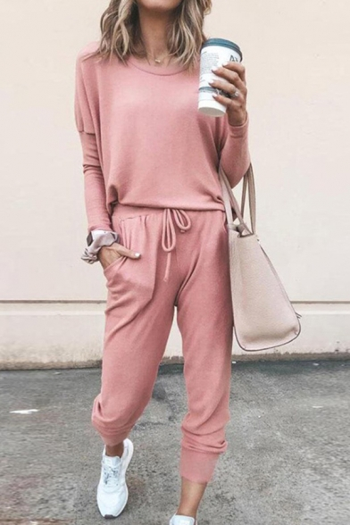 Casual Classic Solid Color Long Sleeve Round Neck Relaxed Tee & Drawstring Wasit Ankle Relaxed Trousers for Ladies