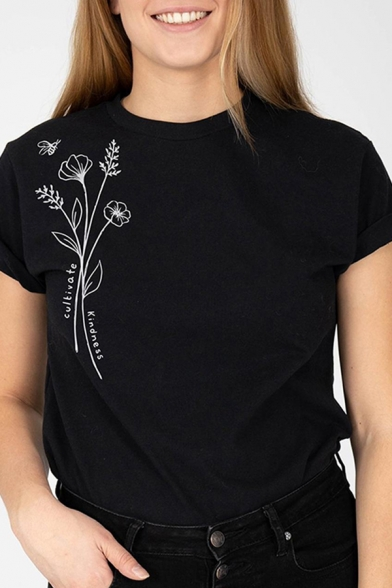 Casual Girls Rolled Short Sleeve Crew Neck Floral Printed Regular Fit T-Shirt in Black