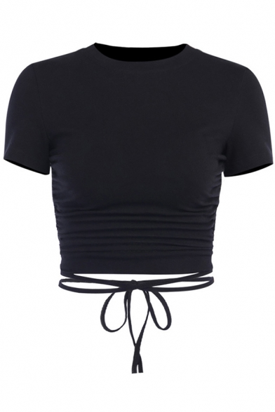 Edgy Hot Girls Short Sleeve Crew Neck Solid Color Open Back Hollow Out Fitted Crop Tee