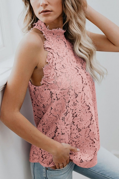 Gorgeous Womens Sleeveless Mock Neck Scalloped Semi-Sheer Lace Solid Color Regular Fit Blouse
