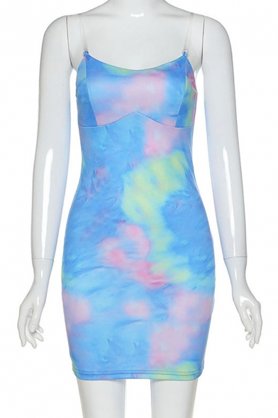 Stylish Womens Sleeveless Colorful Patterned Short Bodycon Cami Dress in Blue