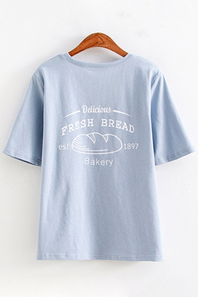 Trendy Womens Short Sleeve Round Neck Letter FRESH BREAD Bread Graphic Loose Fit T-Shirt
